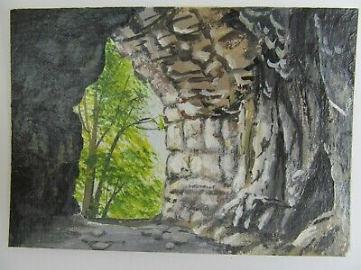 ACEO Original Acrylic Painting Landscape Inside The Cave by Artist Joan Hutson 2