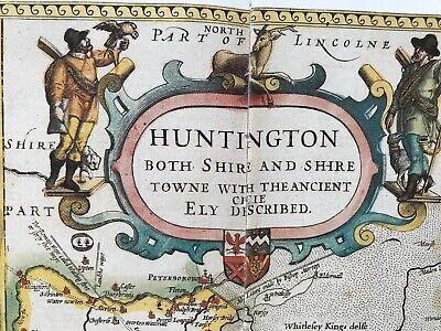 Old Antique Tudor map Huntingdonshire, Ely, England: John Speed 1600's Reprint 2