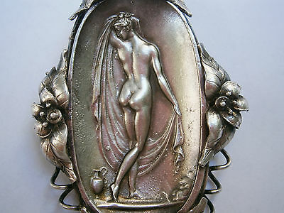 VINTAGE OLD HAND MADE SOLID SILVER 26,3gr. BROOCH PIN NUDE EROTIC LADY ORNATE 6
