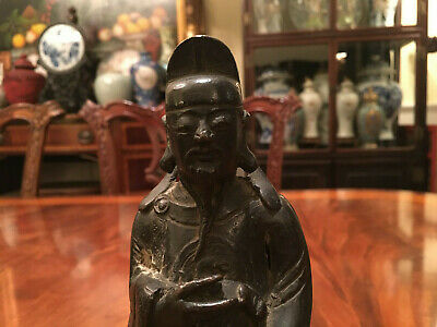 A Chinese Ming Dynasty Bronze Statue with Original Wooden Stand and Zitan Box. 11