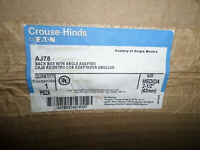 *NEW IN BOX* CROUSE HINDS AJ78 PIN&SLEEVE 200-Amp RECEPTACLE ANGLE BACK BOX 200A 3
