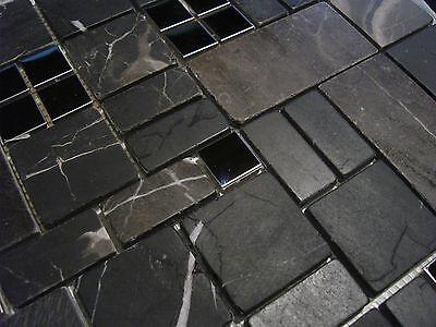 Glasmosaik Naturstein Marmor Fliesen Schwarz Grau Braun Edelstahl