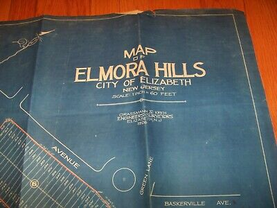1926 Map Elmora Hills Elizabeth New Jersey Grassman & Kreh Surveyors Engineers 2