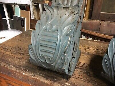 """c1850/60 pair hand carved corbel brackets roof eave elements 24x14x10"""" *AS IS* 2"""