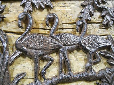 Cast Iron FLAMINGO Plaque Sign FLORIDA Home Garden Wall Decor Stepping Stone 2
