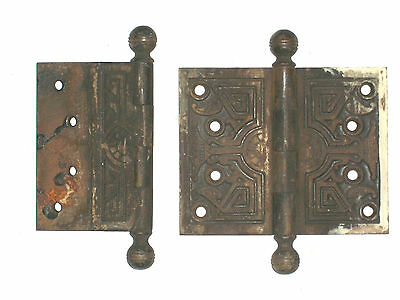 Antique Victorian Eastlake Hinges Late 1800's  5 x 4 2