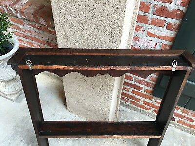 Antique English Carved Tiger Oak Plate Platter Wall Rack Display Shelf Kitchen 11
