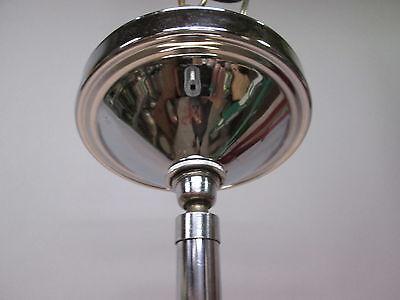 """Vintage Antique Art Deco Chrome Pendant Light Opal Crackle 12"""" Shade 41"""" Long A 5"""