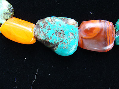 Ancient Mundigak Afghan Banded Carnelian Agate &tibetian Turquoise Bead Necklace 5