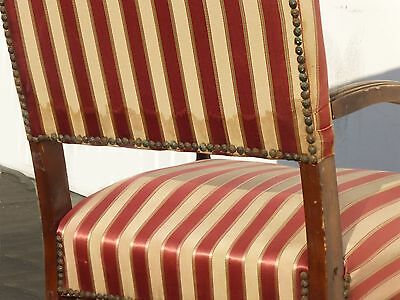 Antique Red & White Striped Silk Accent Arm Chair Floral Design Carved Wood 11