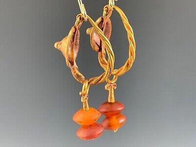 Ancient Roman Gold Shield & Carnelian Earrings; Elegant & Wearable! 2