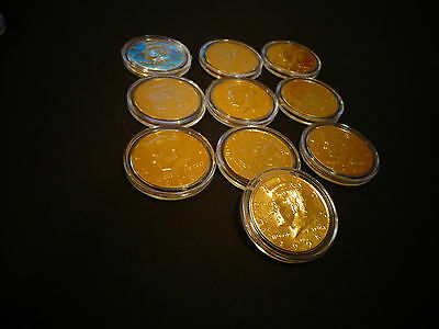 24 KT GOLD PLATED  KENNEDY HALF DOLLAR *COIN SET *LOT OF 5 AIRTIGHT CAPSULE