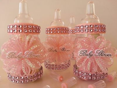 12 Pink Fillable Bottles Baby Shower Favors Prizes Games Its A Girl