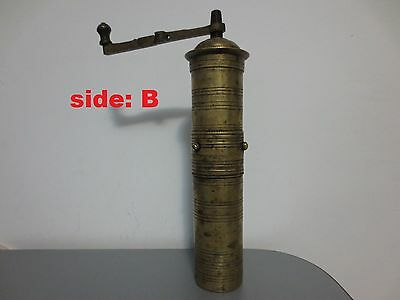 Primitive Antique Ottoman Brass-Carved LOTS of TUGRA Hand Coffee Grinder 19th C. 5