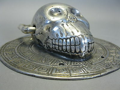 Türklopfer Skull Totenkopf Schädel  versilbert  15 cm  0,45Kg  Gothic Magie 2