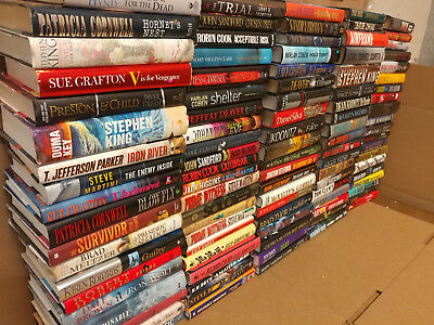 Lot of 10 Mystery Suspense Thriller Crime Murder Detective Hardcover HB MIX Book 12