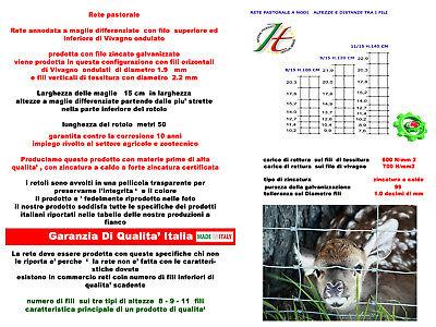 Rete Pastorale Per Allevamento Pecore Animali Rete Pastorizia M15 H.100 Mt 50