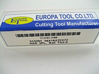 16mm HSS M2 2 FLUTED BALL NOSED SLOT DRILL EUROPA TOOL CLARKSON 3132011600  8 3