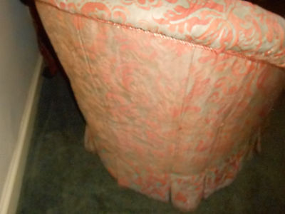 STUNNING Pair Vintage Fortuny Chairs Upholstered Corone Fabric Down Fill Tufted 5