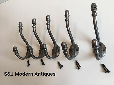 Double Coat Hook Iron Antique Modern Vintage Black Grey Hat Rack Acorn Old Set 5 4