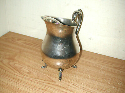 Vintage F.b. Rogers Silver Plated Footed Water Pitcher With Ice Guard 11