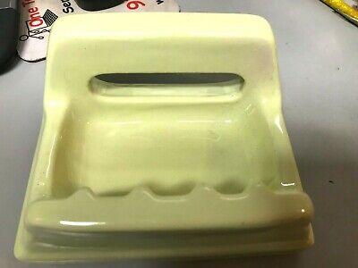 VTG Mid Century Bathroom Porcelain seafoam Green Soap Dish 6.5x5 Glossy NOS 2