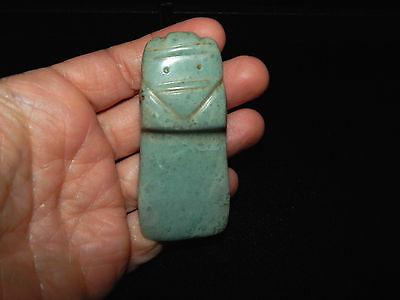 Pre-Columbian Avian Axe God Pendant, Seafoam Jade, Authentic 6
