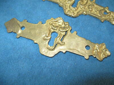 """4- Vintage Ornate Cast Solid Brass Figural 4.5"""" KEYHOLE COVER PLATES..Never Used 6"""