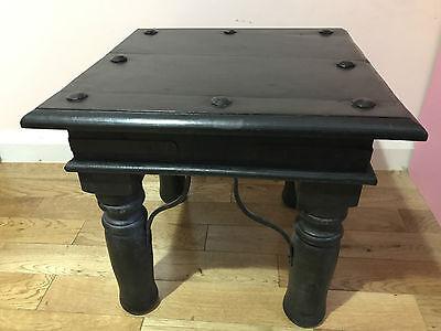 BRAND NEW MANGO WOOD  STOOL Coffee Tea Side End Table metal bolts & Metal  Wood 4