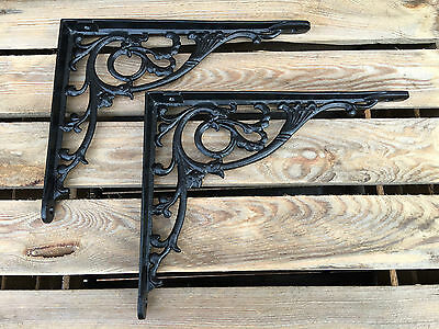 "Pair Black 10x8"" ANTIQUE HEAVY CAST IRON VICTORIAN SHELF WALL BRACKETS BR28bx2 2"