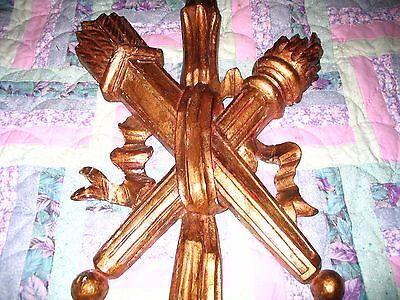 Vintage/Antique Lg Wood carved metal leaf gold gilt wall sconce L@@K 3