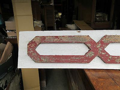 "VICTORIAN GINGERBREAD pediment w/APPLIED fretwork detail RED & WHITE 85 x 10.5"" 2"