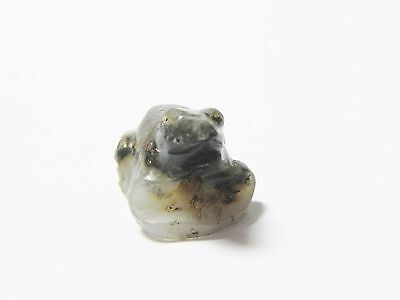 Zurqieh -Q240- Ancient Egypt , New Kingdom Agate Frog Amulet. 1400 B.c