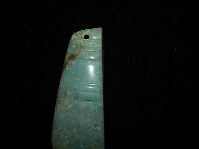 Pre-Columbian Ceremonial Blue Jade Pendant, Rare, Angular Cut Pendant, Authentic 8