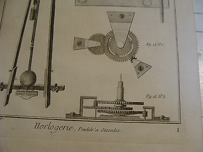 "Original engraving 1760's 10 1/2 x 16"" Pendule a Secondes 3"