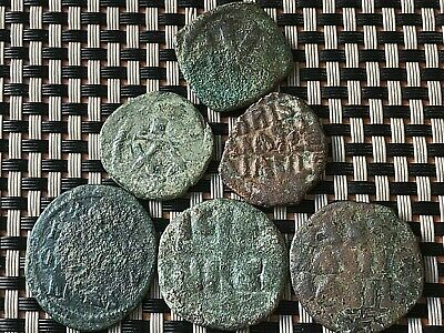 Lot Of 6 Ancient Byzantine Medieval Bronze Coins Ae Follis & Half-Follis 3