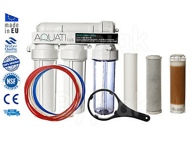New 4 Stage RO Reverse Osmosis system with DI resin chamber 75 GPD Deionization