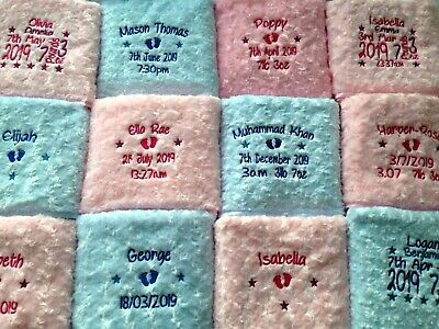 Personalised Baby Blanket Embroidered Soft Fluffy Gift 6
