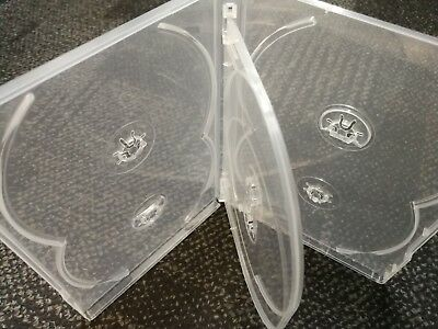 5 x PREMIUM Sextuple Clear DVD Case Holds 6 Disc Six DVD Cover 14mm Pivot Tray 3