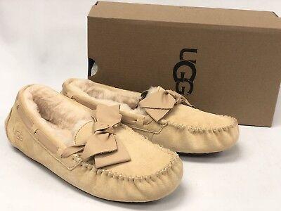 9bc1092a3b9 UGG AUSTRALIA DAKOTA Leather Bow Womens 1020031 Soft Ochre Suede Slip On  Shoes