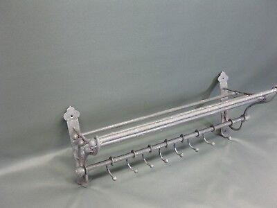 Garderobe  Hutablage  aus Metall  mit beweglichen Haken 53 cm x 22 cm Loft grau 5