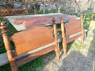 Old Walnut Bed 1890 ?  Old Wood Single Bed Hand Made 2