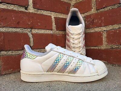 buy popular 5aaf9 ee19e ADIDAS SUPERSTAR IRIDESCENT Hologram Stripe Sneaker Shoe CG3596 Big Kid  Size 3.5