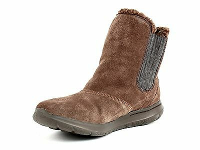 6 of 10 Skechers GO WALK Chugga Womens Casual Ankle Winter Warm Brown Suede Boots