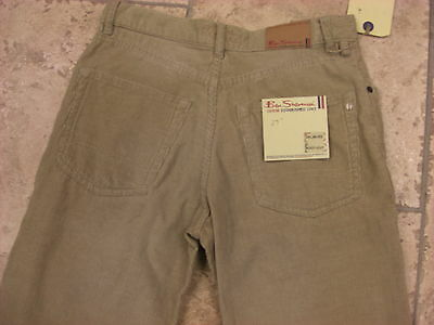 "Bnwt Boys Ben Sherman Cream Distressed Wash Bootcut Cords  Waist 27""  Leg R 7"