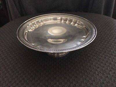 Vintage Revere Silversmiths Sterling Silver Round Pierced Pedestal Bowl Dish 12