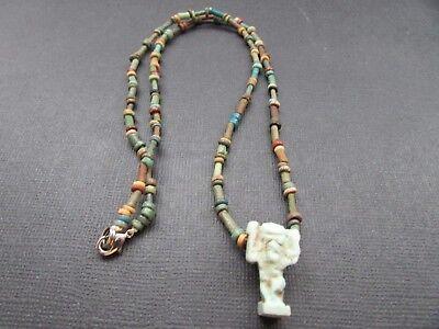 NILE  Ancient Egyptian Shu Amulet Mummy Bead Necklace ca 600 BC