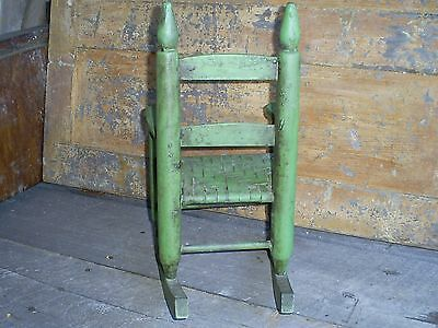 Antique Ladder Back Child's Toy Woven Splint Seat Wood Rocking Chair Old Paint 9