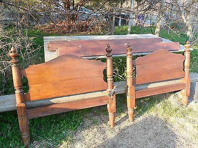 Old Walnut Bed 1890 ?  Old Wood Single Bed Hand Made 3