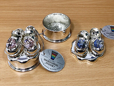 Crystal Pink/Blue Baby Girl Silver Plated Shoe Ornament Christening Trinket Box